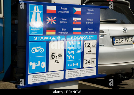 Price list for various vehicles at a Polish motorway toll booth. Near Krakow, Poland. - Stock Photo