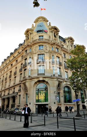 Paris, France, Commercial Architecture, HSBC Bank Corporate Headquarters Buildings, Front, Facade, Avenue Champs - Stock Photo