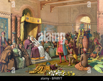 Print c1893 of Christopher Columbus standing before Ferdinand and Isabella with Native Indians brought back from - Stock Photo