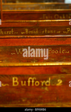 The names of houses in the parish on the C18th pews showing where to sit in Shermanbury parish church Henfield, - Stock Photo