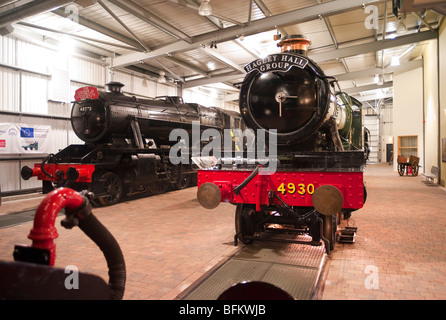 No 4930 Hagley Hall and other old preserved steam locomotives in the Visitor Centre at Highley Worcestershire England - Stock Photo