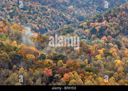 Autumn Color and Mountain Ridges in Breaks Interstate Park in Kentucky - Stock Photo