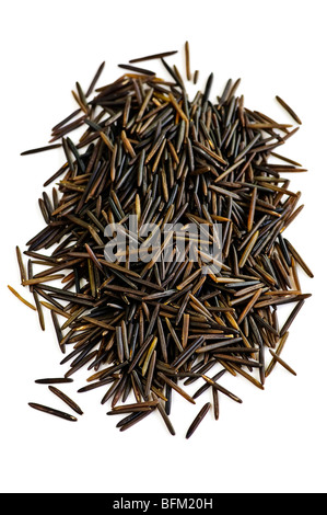 Pile of black wild long grain rice isolated on white background - Stock Photo