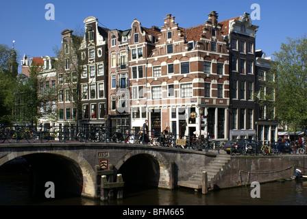 Corner Prinsengracht-Brouwersgracht, Amsterdam, The Netherlands - Stock Photo