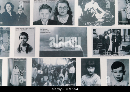The Memorial to the Children, photos of those deported from France in the Holocaust Memorial museum, Paris - Stock Photo