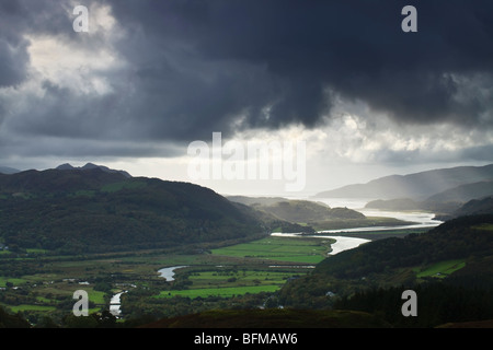 View from the precipice Walk, overlooking the Mawddach Estuary near Snowdonia National Park Wales - Stock Photo