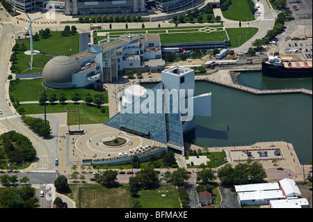 aerial view above Rock and Roll Hall of Fame Great Lakes Science Center North Coast Harbor downtown Cleveland Ohio - Stock Photo