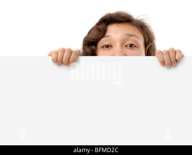 Woman holding a white blank sign - Stock Photo