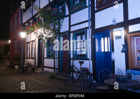 Germany,North Rhine,Westphalia,Kempen, Alteschulstrasse street, old houses - Stock Photo