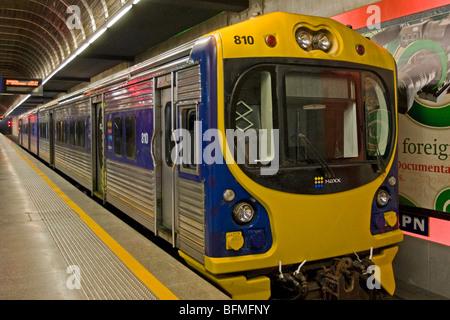 An ADL class diesel multiple unit (DMU) train at Britomart Railway Station, Auckland, New Zealand, Monday, September - Stock Photo