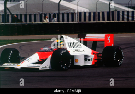 Ayrton Senna in the McLaren MP4-5 1989 British Grand Prix at Silverstone - Stock Photo