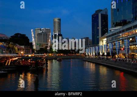 Clarke Quay, Boat Quay and Singapore River at Dusk or Night, Singapore - Stock Photo
