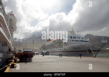 Argentina, Ushuaia, Terra del Fuego, during the cruising season alot of the expedition ships use Argentinas most - Stock Photo