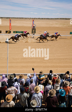 Australia, Queensland, Birdsville.Outback horse racing at the annual Birdsville Cup races. - Stock Photo