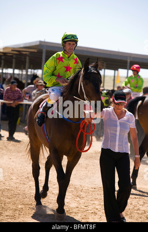 Australia, Queensland, Birdsville.  Horse and jockey at the annual Birdsville Cup Races. - Stock Photo
