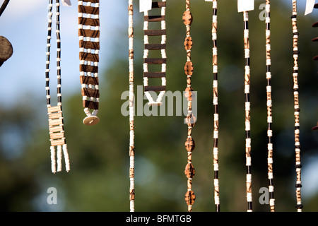 Namibia, Bushmanland. Detail of ostrich-shell jewellery made by San (Bushman) women at Nhoqma village (pronounced - Stock Photo