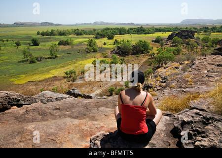 Australia, Northern Territory, Kakadu National Park. Looking out over the Nadab floodplain at Ubirr (PR) (MR) - Stock Photo