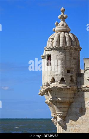 Portugal, Lisboa, Lisbon, Belem, Cruz Quebrada, Pedroucos, detail of one of the turrets of the Tower of Belem - Stock Photo