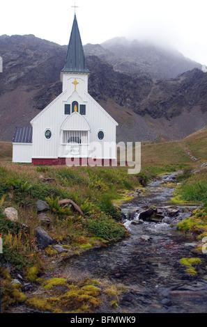 South Georgia and south Sandwich Islands, South Georgia, Cumberland Bay, Grytviken.Whalers Church orig. built in - Stock Photo
