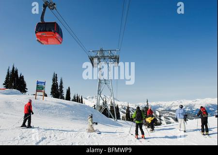 Canada, British Columbia, Whistler, venue of the 2010 Winter Olympic Games, Whislter Blackcomb Peak 2 Peak Gondola. - Stock Photo