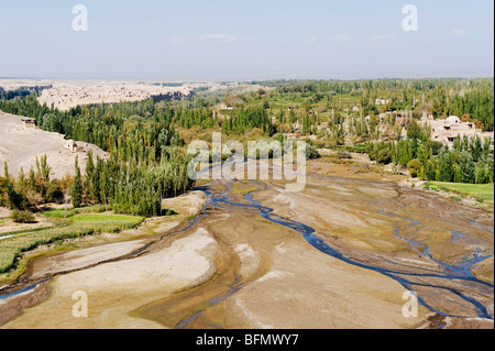 China, Xinjiang Province, Turpan, Ruined city of Jiaohe, on the Silk Route, UNESCO World Heritage Site - Stock Photo