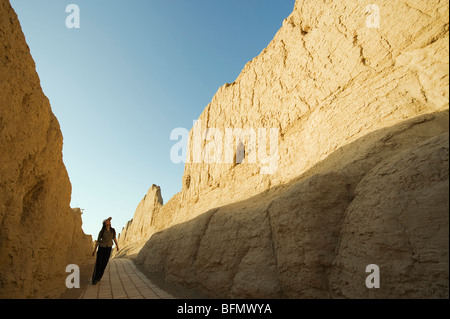 China, Xinjiang Province, Turpan, Ruined city of Jiaohe, on the Silk Route, UNESCO World Heritage Site (MR) - Stock Photo