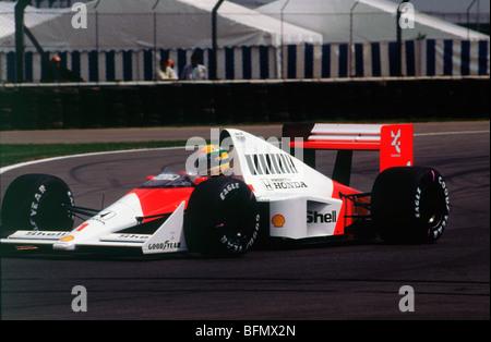 Ayrton Senna in the McLaren MP4-5 1989 British Grand Prix - Stock Photo