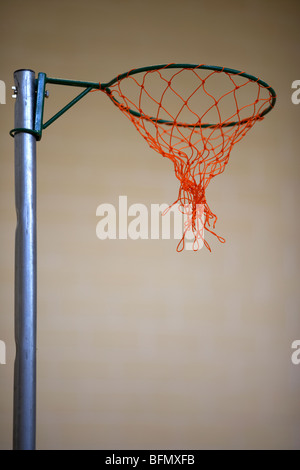 netball net in a school gym sports hall selective focus - Stock Photo