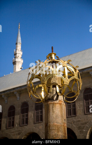Syria, Damascus, Umayyad Mosque. A bronze decoration stands in the courtyard of the magnificent Umayyad Mosque - Stock Photo