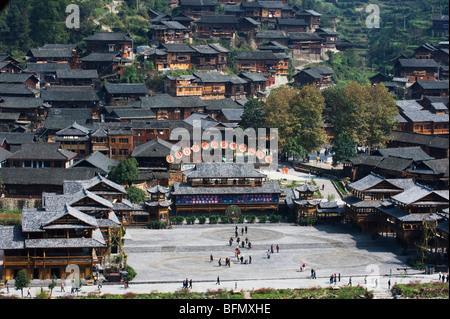 China, Guizhou Province, Xujiang, wooden buildings - Stock Photo
