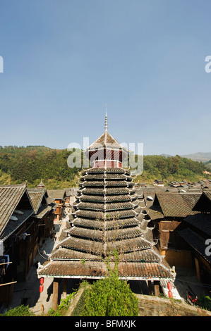 China, Guizhou Province, Zhaoxing Dong village, Drum Tower - Stock Photo