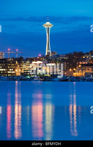 USA, Washington State, Seattle, downtown buildings and Space Needle seen from Lake Union - Stock Photo