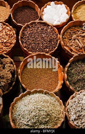 Egypt, Sinai Peninsula, Bur Said, Dhahab, spices for sale at street market. - Stock Photo
