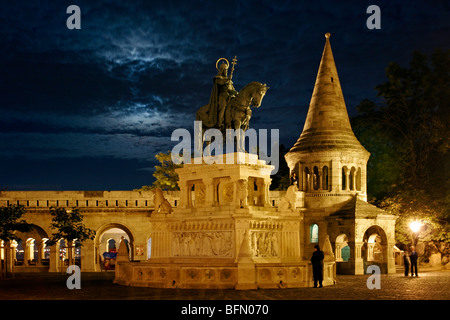 Hungary, Budapest, statue of the King St. Stephen at the Fishermen's Bastion. - Stock Photo