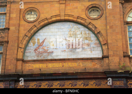 Detail of Mural of Spanish Armada on the Facade of the Great Western Hotel and New Palace Theatre, Union Street, - Stock Photo