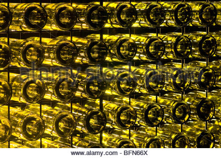 ... A Garden Wall Made Of Recycled Glass Wine Bottles Illuminated At Night    Stock Photo