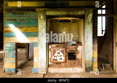Window frame with no glass part of a wooden abandoned house - Stock Photo