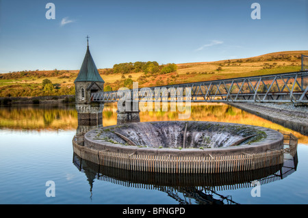 HDR image of Pontsticill Reservoir (also known as Dolygaer Lake) Brecon Beacons in Mid-Wales early evening with - Stock Photo