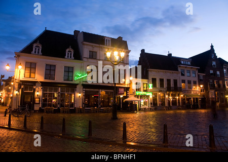 Breda at night. The city has numerous pubs, bars and restaurants and is known for its lively and hospitable nightlife. - Stock Photo