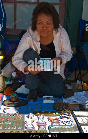 Native Indian lady selling Crafts Santa Fe New Mexico - Stock Photo
