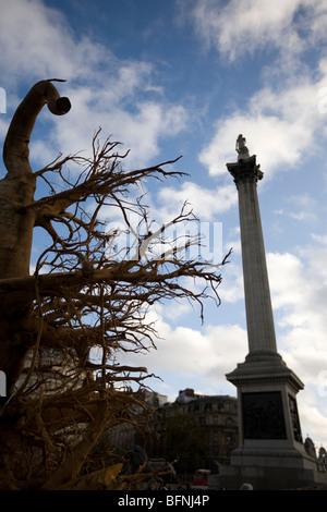 Ghost Forest Installation in Trafalgar Square 16-22 November by Angela Palmer - Stock Photo