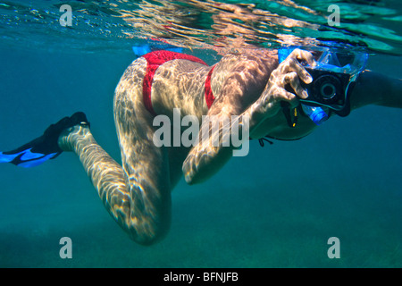 Young woman snorkeling and taking pictures underwater - Stock Photo