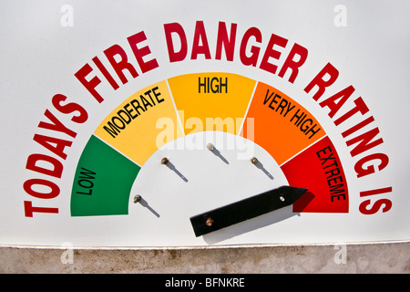 A warning sign in a rural town indicates the current fire threat. - Stock Photo