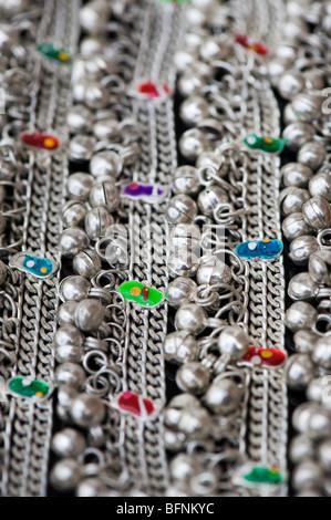 Indian ladies ankle bracelet jewelry pattern - Stock Photo