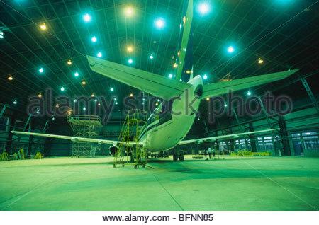 Aircraft in hangar - Stock Photo