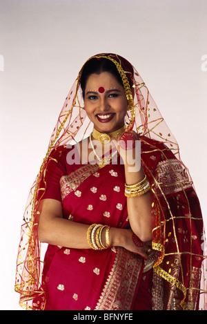 Bengali Indian bride in wedding dress India MR#145 - Stock Photo