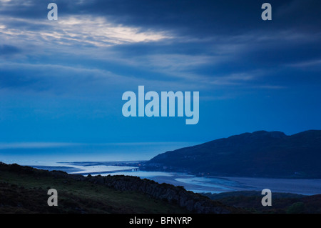 Late evening dusk over the Mawddach estuary from Cregennen lakes in Snowdonia Wales UK - Stock Photo