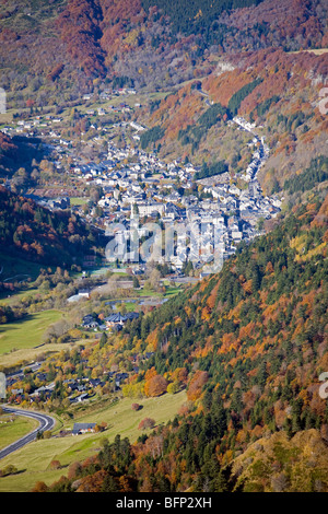 In Autumn, the Mont-Dore thermal spa photographed from the vantage point of the Sancy Massif (Puy de Dôme - Auvergne - Stock Photo