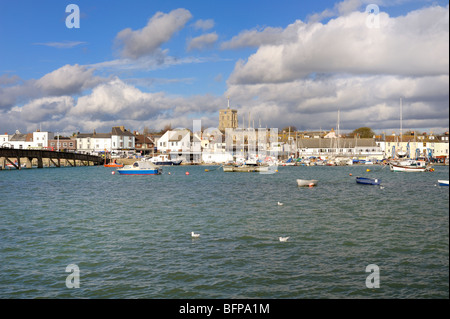 Looking across the Adur estuary towards Shoreham town - Stock Photo