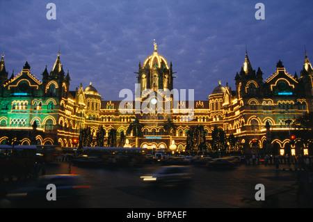 Victoria Terminus Station ; VT now CST ; night Illumination on 150 Years of Indian Railway ; Bombay Mumbai ; Maharashtra - Stock Photo